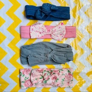 3/$10 Four Knotted Bow Baby Headbands